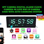 Spy Camera Digital Clock 4K Live Wifi IP Camera 64GB Auto Charging System