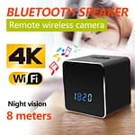 Spy Camera 4K Bluetooth Speaker with Led Clock Wifi IP Camera Recorder